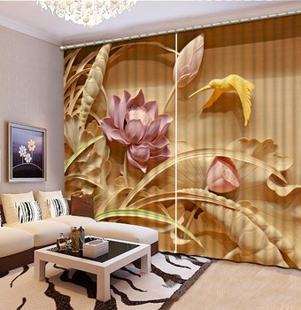 High quality custom louts curtain 3D Curtain Printing Blockout Polyester Photo relief curtains