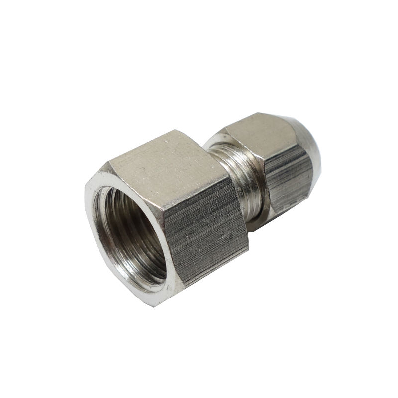 Brass Nickel Plated Compression Fitting Straight Female Connector 6 MM OD *<font><b>1/4</b></font>