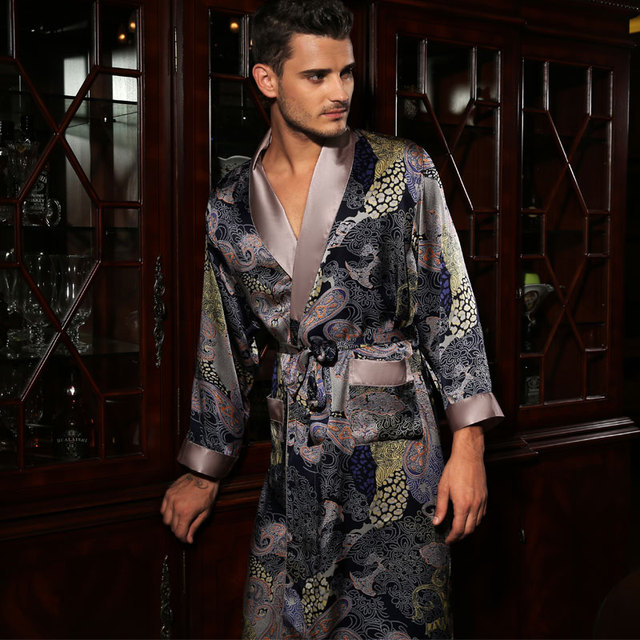 New Design Male Silk Satin Long-Sleeve Kimono Sleepwear 100% Silk High Quality Sexy Men Bathing Robe Dressing Gown YE2519