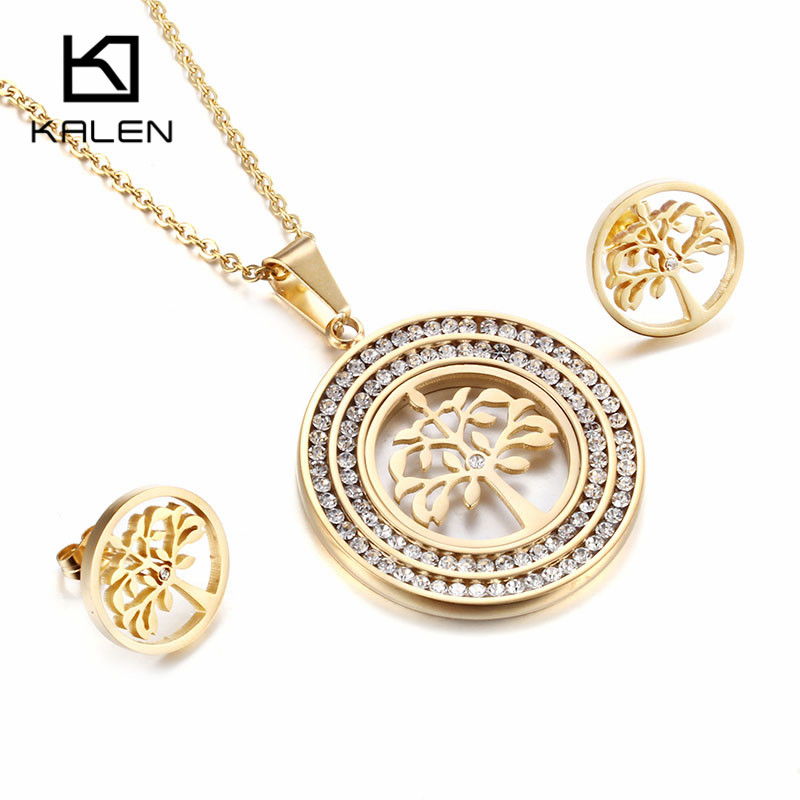 Kalen Women Rhinestone Jewelry Stainless Steel Pakistani Gold ...
