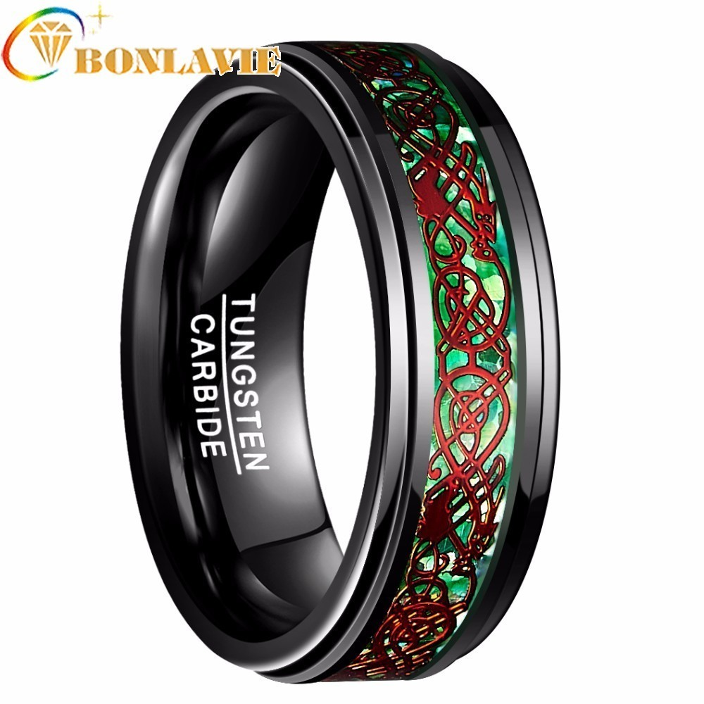2018 à la mode 8mm anneau de tungstène hommes Bague incrustée finition polie bord fiançailles Bague de mariage mode bijoux anneaux