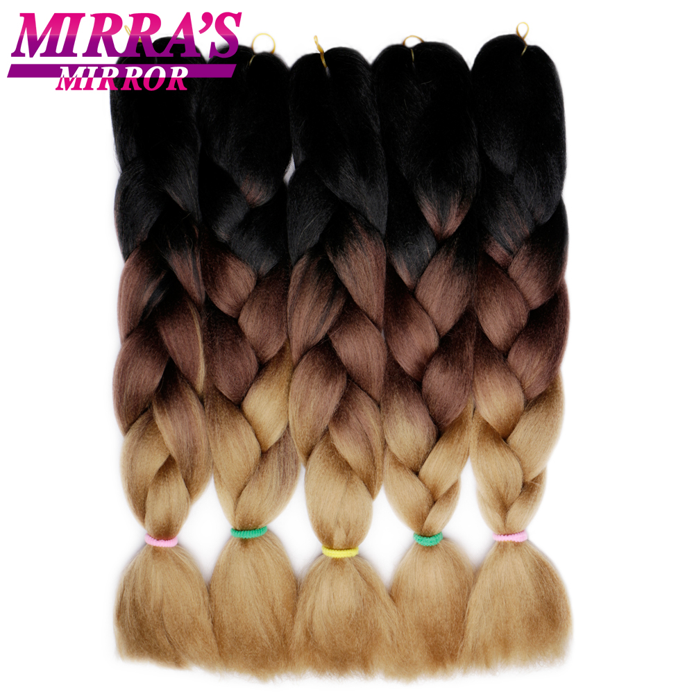 Hair Extensions & Wigs Mirras Mirror 5pcs Ombre Braiding Hair Kanekalon Crochet Hair 24 100g/pack Synthetic Jumbo Braids Hair Extension Green Brown Refreshment Jumbo Braids