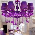 Европейская роскошная цветная фиолетовая свеча  люстра в современной гостиной  ресторан  хрустальная люстра  бесплатная доставка