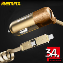 Remax Car Charger Adapter 3.4A with 2 in 1 USB Cable for iPhone 5s 6 6plus micro usb Samsung Huawei xiaomi LG Car-charger