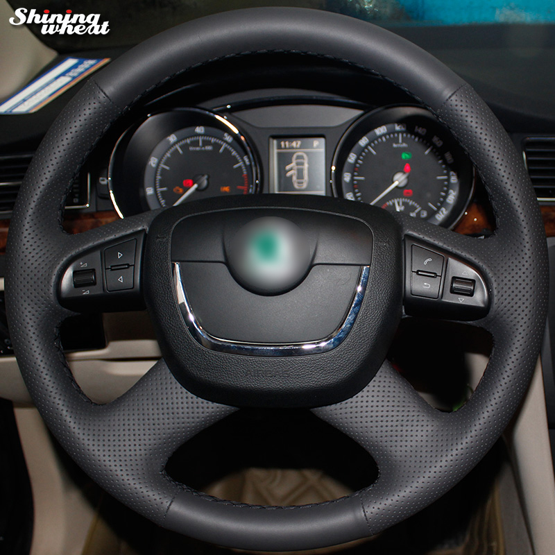 Shining wheat Genuine Leather Steering Wheel Cover for Skoda Octavia Octavia a5 a 5 Superb 2012-2013