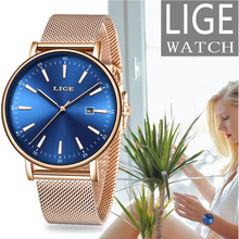 2019 LIGE Fashion Golden Ladies Watch Women Luxury Brand Stainless Steel Waterproof Watches Saat Relogio Feminino Relojes Mujer