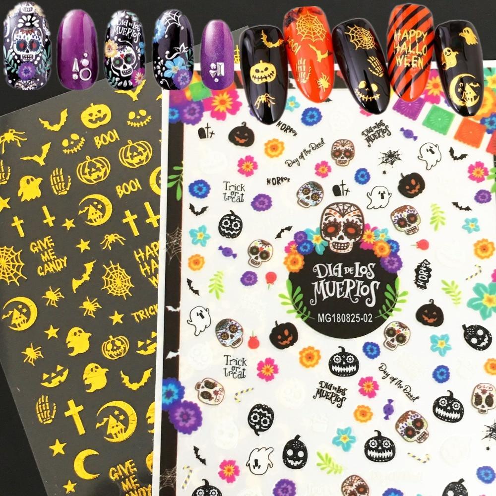 Newest WG-1402 Halloween pattern 3d nail sticker back glue decals Japan style rhinestones DIY decoration for art