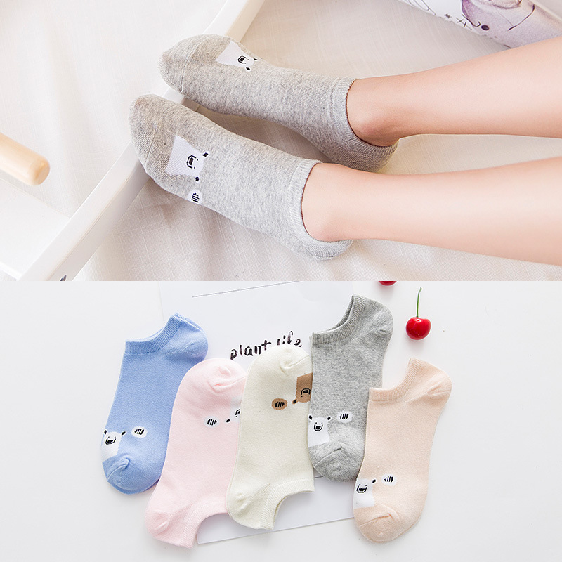 Cotton Animal Pattern Comfortable Girl Women's Boat Socks Ankle Low Female Invisible Color Girl Boy Hosiery 1pair=2pcs WS100