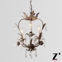 K9 Crystal Palais Iron Leaf Pendant Light Iron Body French Vintage Country Style Restaurant Dinning Room