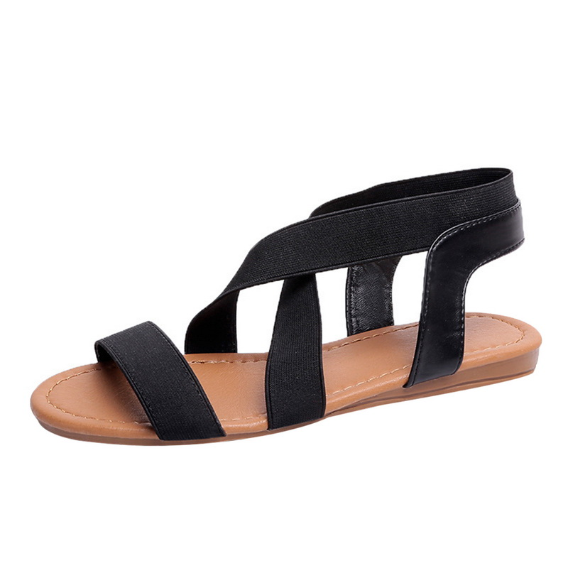 Women Sandals 2019 Fashion  Sandals For Ladies Summer Shoes Female Flat Sandals Rome Style Cross Tied Shoes Women girl shoes in sri lanka