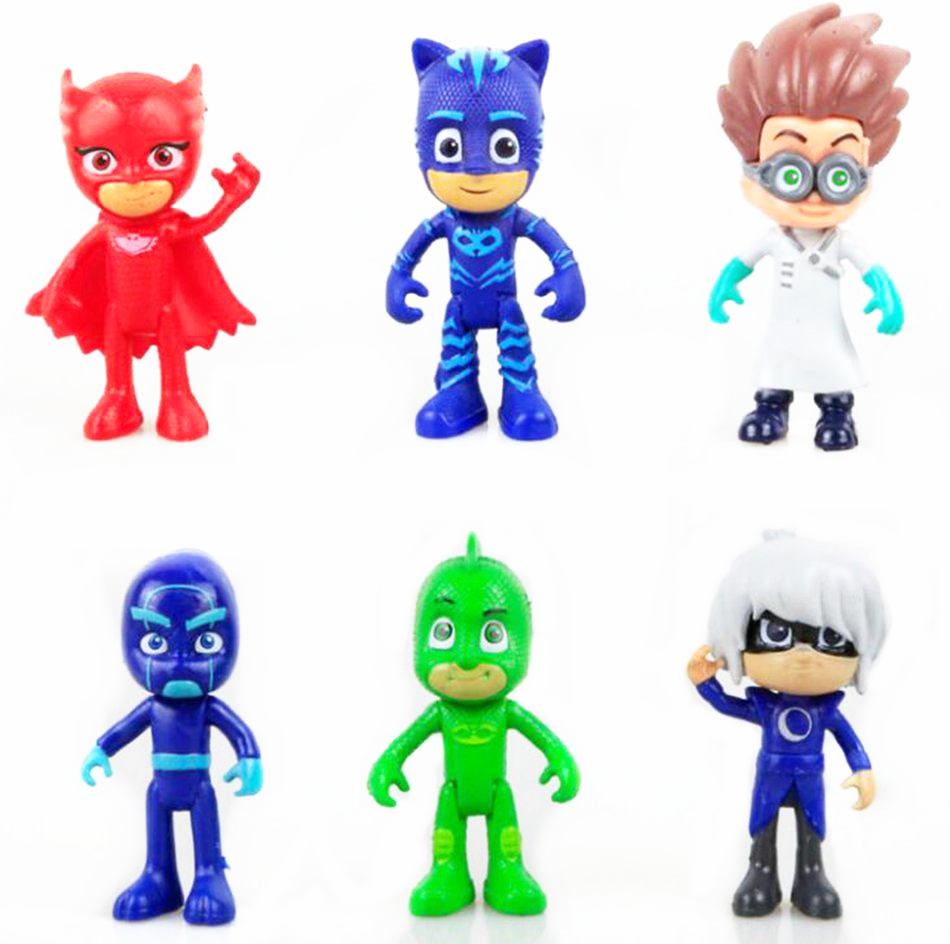 9CM 6Pcs/lot PJ masks Doll Toy Kids  Action Figure Toy Owlette Catboy Anime Decoration Boy Girl Children'S Birthday Gift action figure beautiful girl model toy native ghost month bride doll birthday gift for children kids 18cm