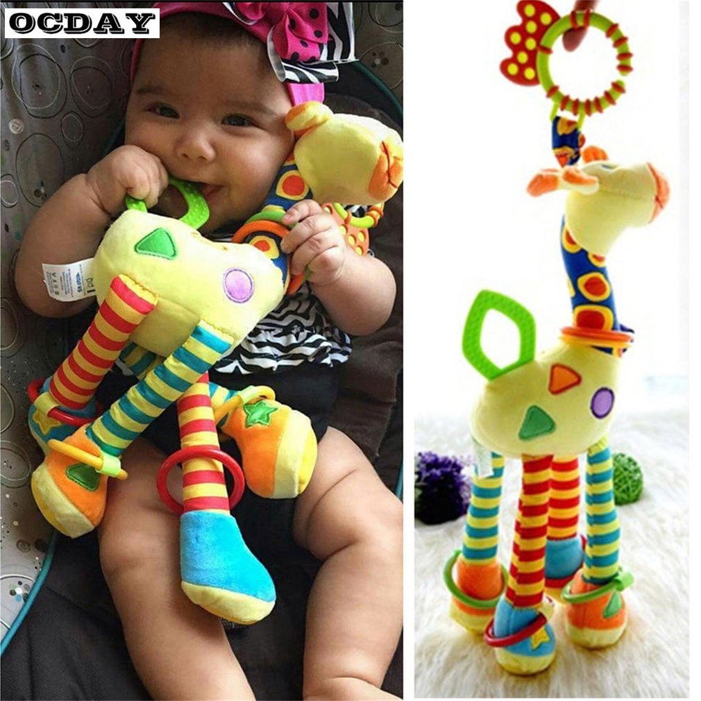 OCDAY Baby Toy Giraffe Baby Rattle Ring Bell Hanging Toy Animal Handbells Baby Pram Bed Bells Educational Mobiles Toys Hand Bell