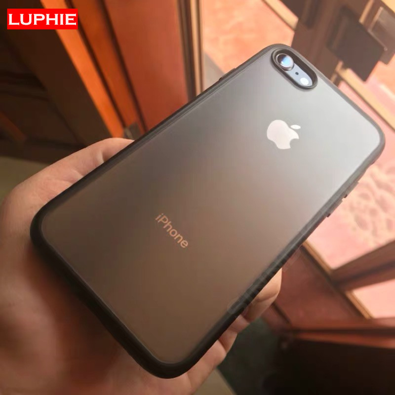 LUPHIE Matte Transparent Bumper Case On The For iPhone XS X 8 7 Shockproof Cover for Apple MAX XR 7Plus 8Plus Non Slip