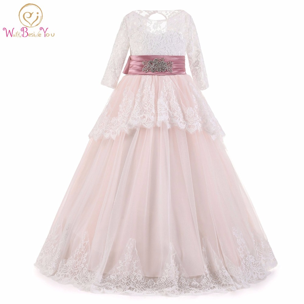 Pink   Flower     Girl     Dresses   Long Sleeves Lace with Rhinestone Belt Ball Gown Long First Communion Little   Girls     Dresses   2017
