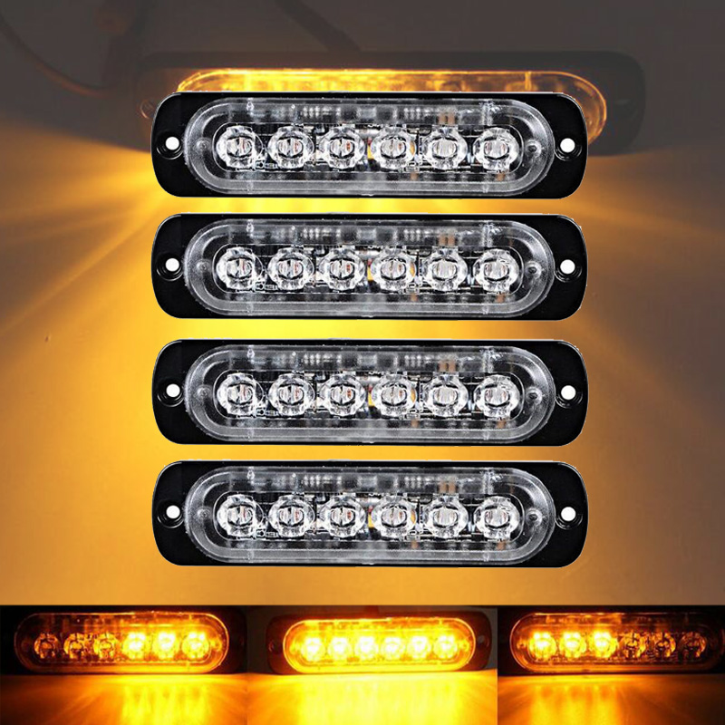 castaleca 4X Side strobe marker lights  Car Truck 6 LED Amber  Flashing Emergency Hazard Warning Lamp DC12 24V Clearance light