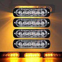 castaleca 4X Side strobe marker lights  Car Truck 6 LED Amber  Flashing Emergency Hazard Warning Lamp DC12 24V Clearance light