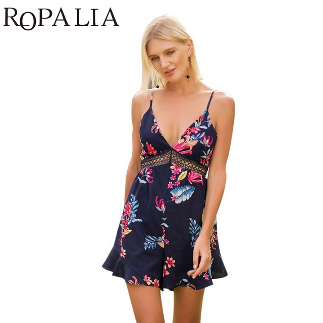 2837d7b0e4c Ropalia Floral Print Chiffon Playsuit Women Summer Sexy Off Shoulder Halter  Sleeveless Boho Rompers Jumpsuit Beach Party Overall