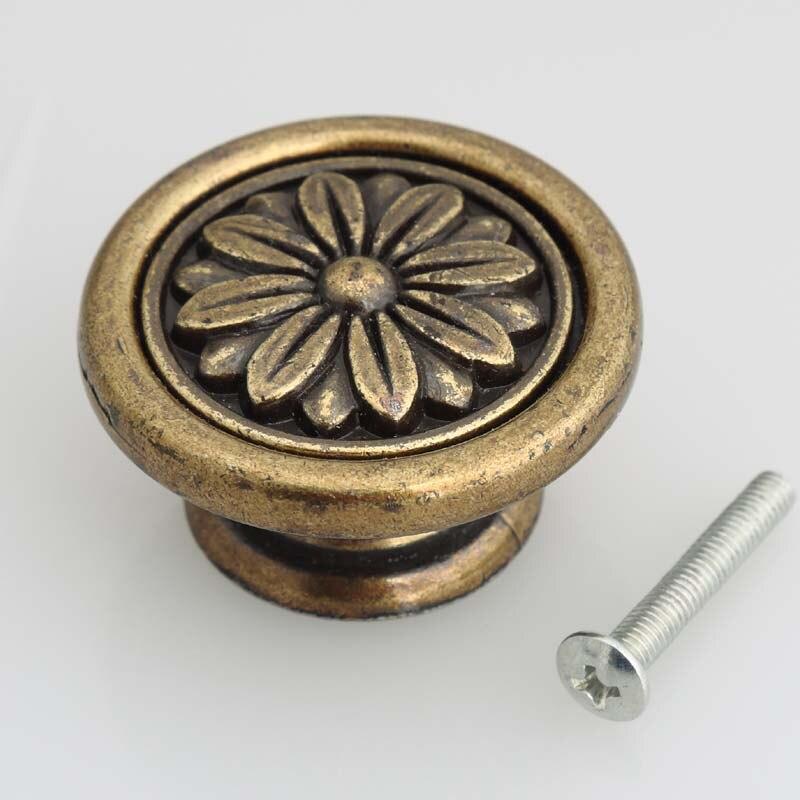 40mm antique brass flower kitchen cabinet drawer knobs pulls bronze ...
