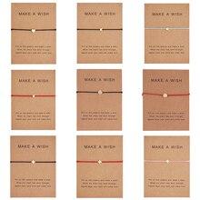 RINHOO сделать пожелание мини цветок Шарм браслет Femme Регулируемый счастливый красный String браслеты для женщин и детей Wish ювелирные изделия карты подарок