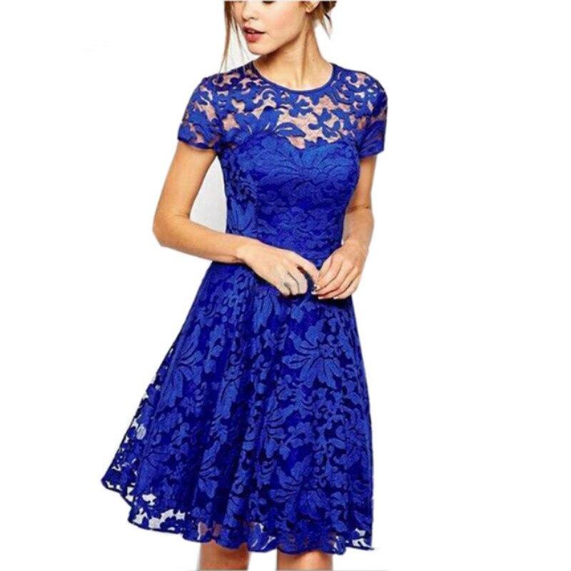 2018 moda mujer verano dulce Hallow Out vestido de encaje Sexy fiesta princesa Vestidos ajustados rojo azul 5XL más tamaño vestido de sol