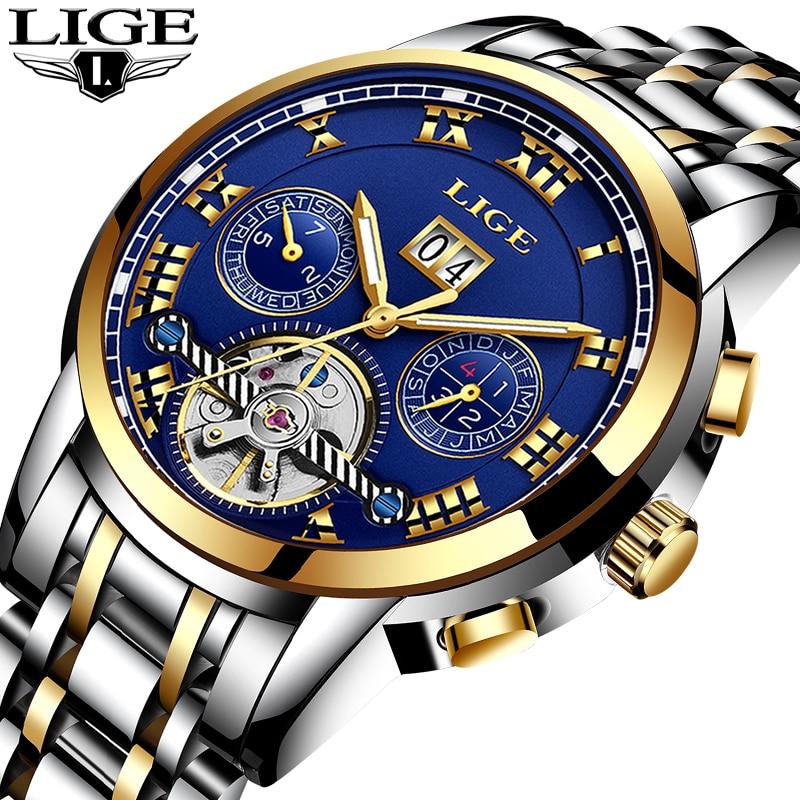Relogio Masculino LIGE Men Watches Luxury Brand Tourbillon Automatic Mechanical Watch Men Fashion Business Waterproof WristWatch