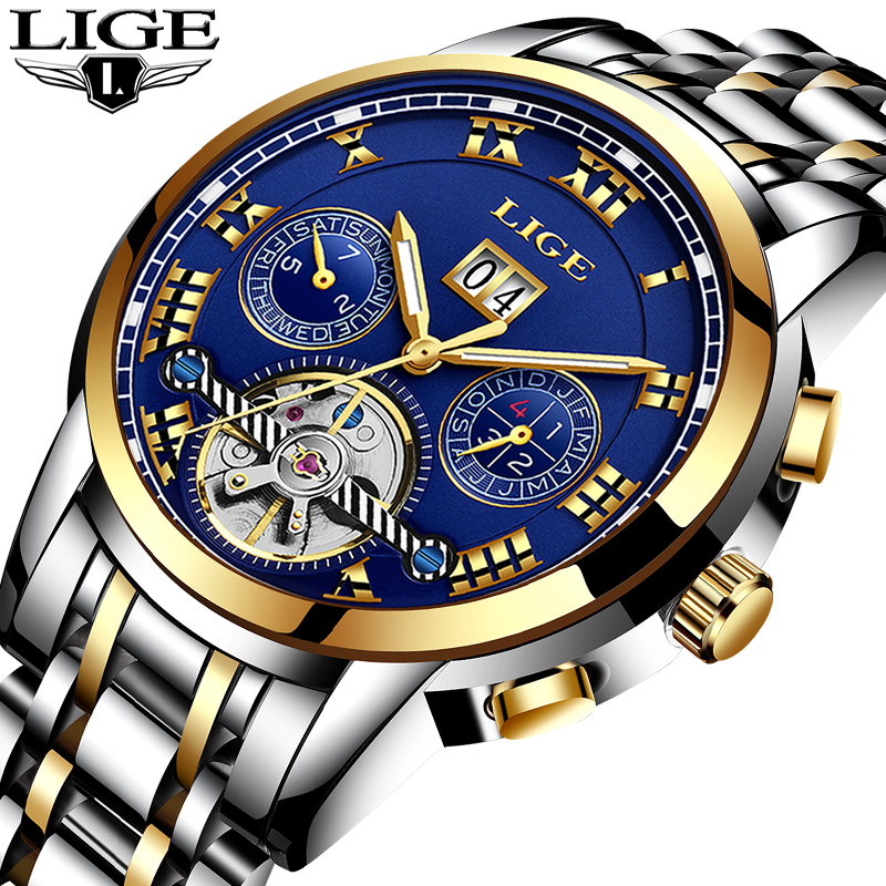 Relogio Masculino LIGE Men Watches Luxury Brand Tourbillon Automatic Mechanical Watch Men Fashion Business Waterproof WristWatch цена