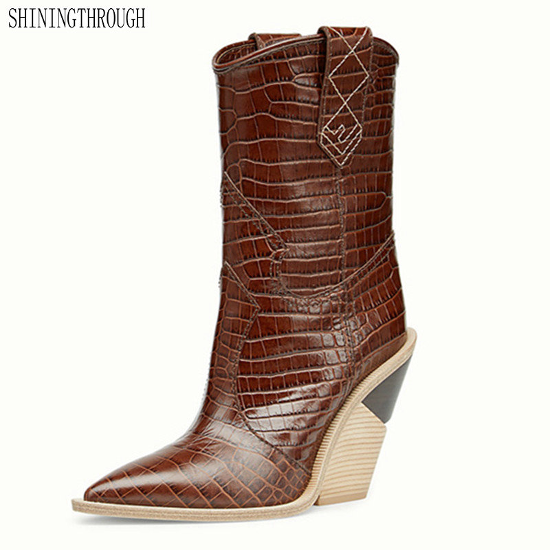 Fashion Embossed genuine Leather Women Mid-calf Boots Toe Western Cowboy Boots Chunky High Heels Motorcycle BootsFashion Embossed genuine Leather Women Mid-calf Boots Toe Western Cowboy Boots Chunky High Heels Motorcycle Boots