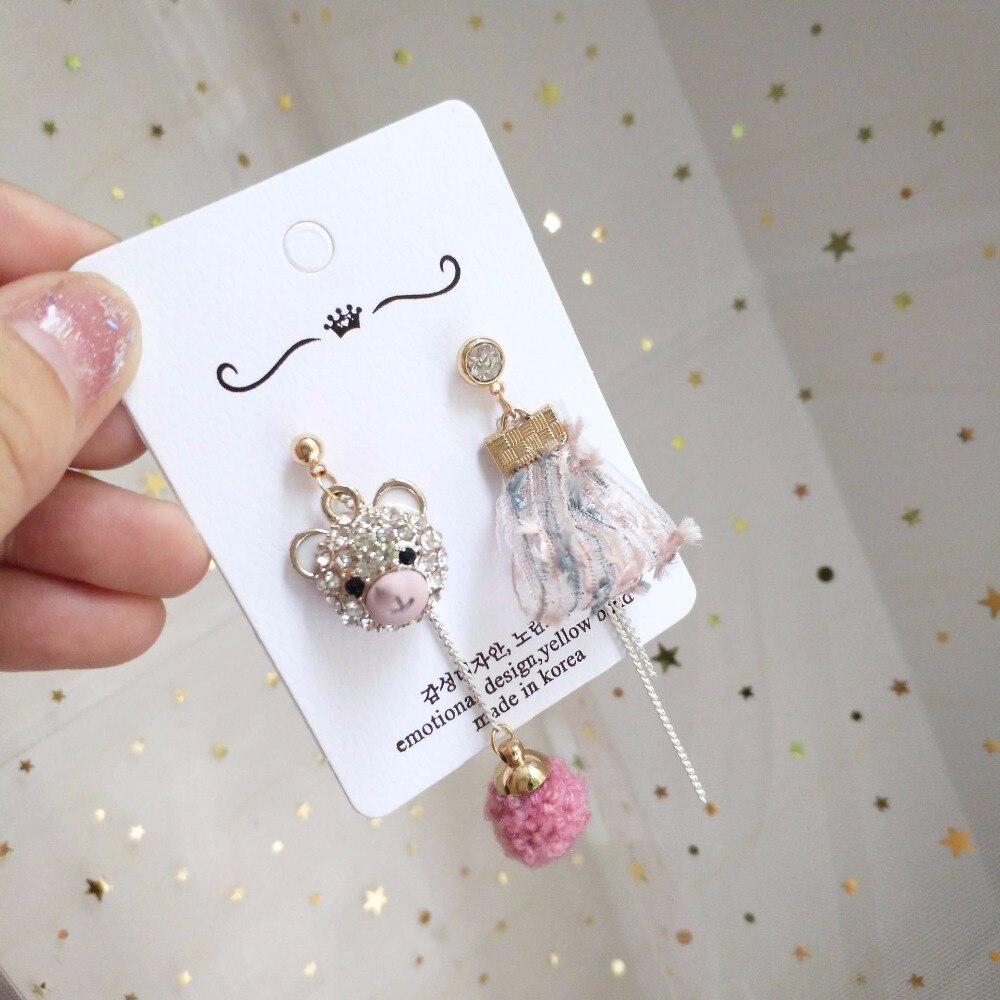 Korea Handmade Cartoon Rhinestone Bear Women Drop Earrings Dangle Fall Winter Fashion Jewelry Accessories-JQD5