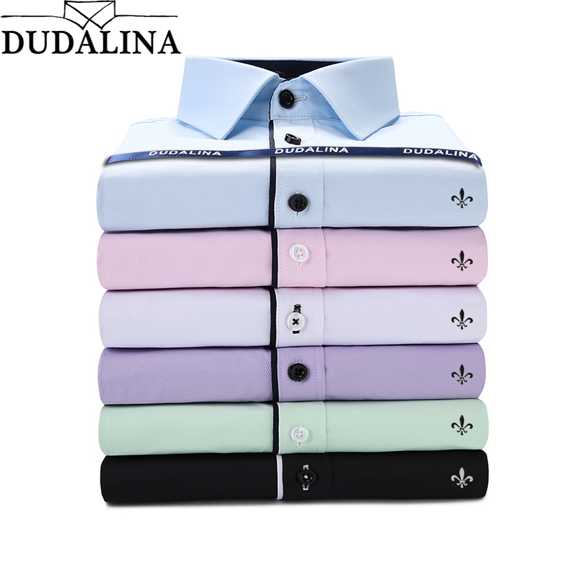 Dudalina Camisa Male Shirts Long Sleeve Men Shirt Camisa Social Masculina Brand Clothing Casual Slim Fit Chemise Homme No Pocket