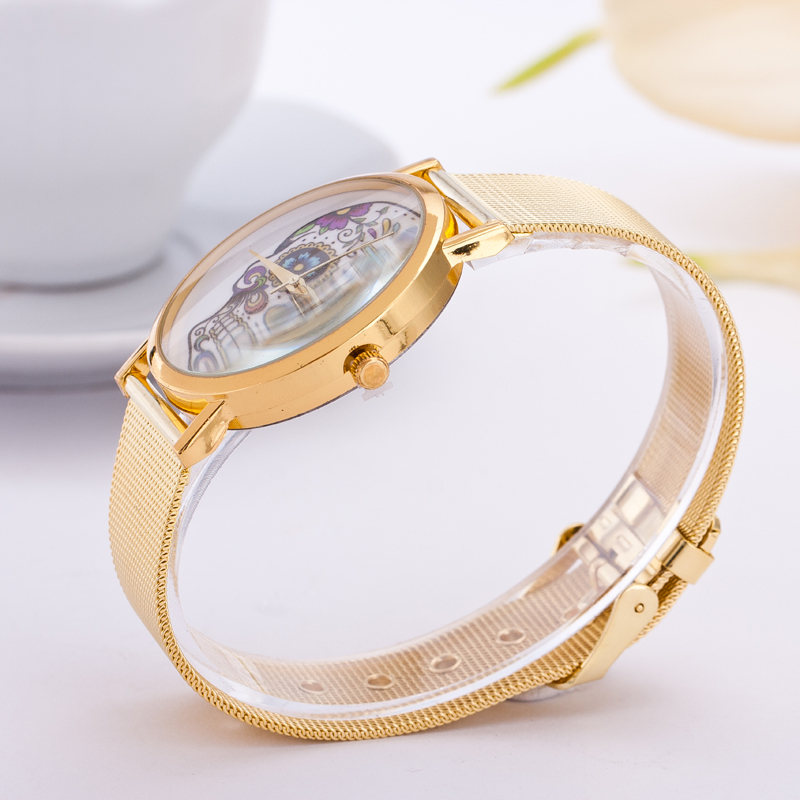 2016 new fashion women watches Gold stainless steel b