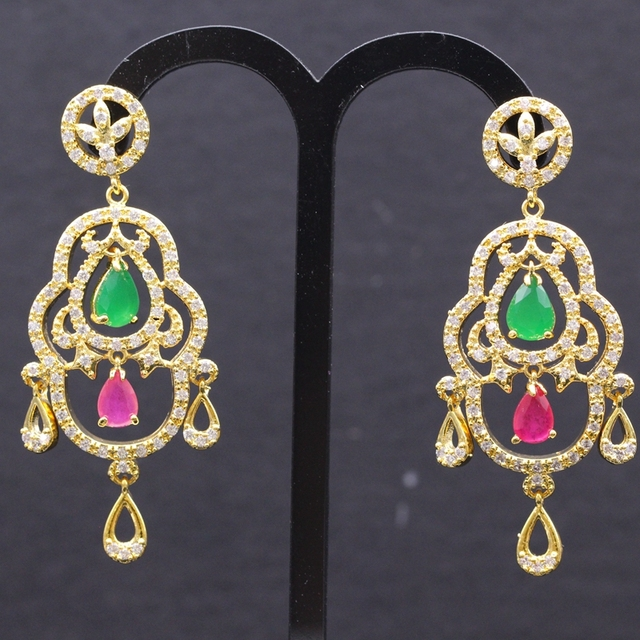 Fashion Nobby Red & Green Zircon AAA Zircon Yellow Gold Plated Special Drop Princess Style Stud Earring Bijoux For Women E01-2