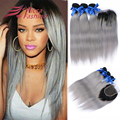 Ombre Silver Gray Hair Silky Straight Brazilian Virgin Hair Hot Selling 3Pcs With 4*4 Lace Closure Dark Roots Grey Hair 7A Grade