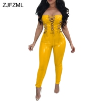 ZJFZML PU Leather Sexy Bodycon Jumpsuit Women Strapless Cross Lace Up Hollow Skinny Romper Backless Cold