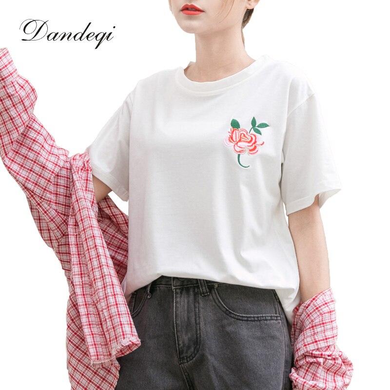 dandeqi harajuku summer t shirts women embroidery rose cotton o neck tee shirt tops quality. Black Bedroom Furniture Sets. Home Design Ideas