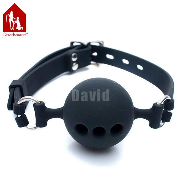 Davidsource Pierced Breathable Black Silicone Mouth Gag Lockable Adjustable Belt Slave Training Bondage Gear Sex Product