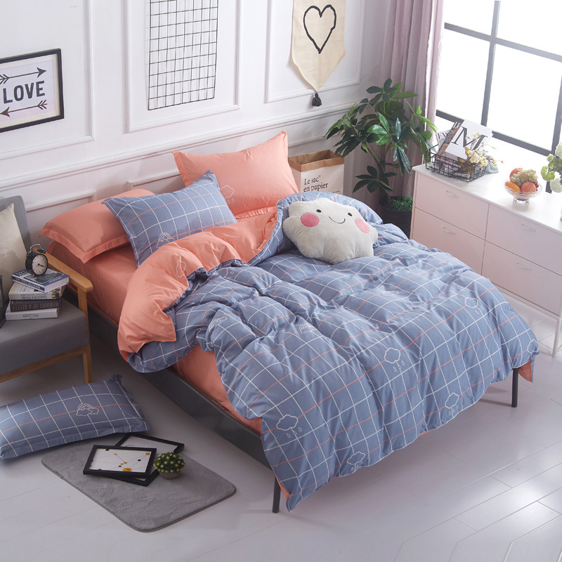 wholesale Simple plaid -Sky blue pink and hello kity 3/4pc bedding set king queen kids size duvet cover bed linen car-covers