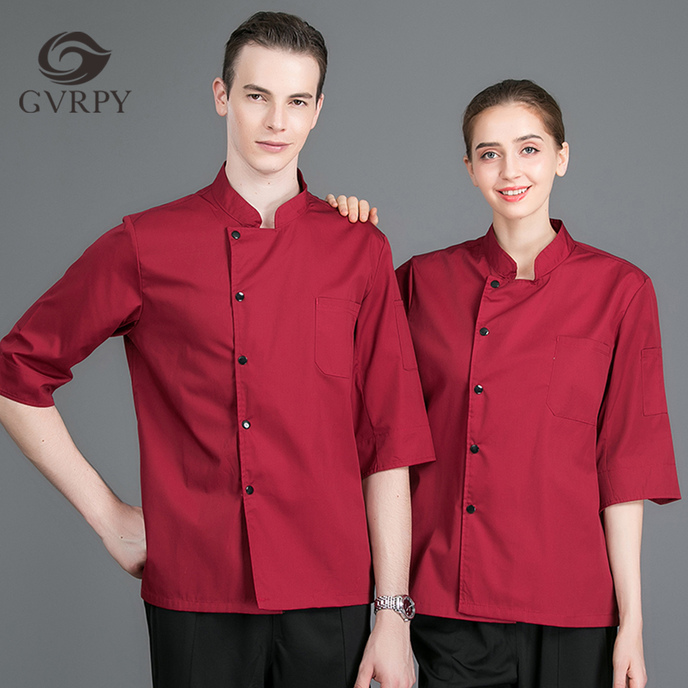 High Quality Summer Unisex Summer Solid Color Seven-point Sleeve Chef Uniform Catering Service Hotel Cafe Waiter Work Shirt