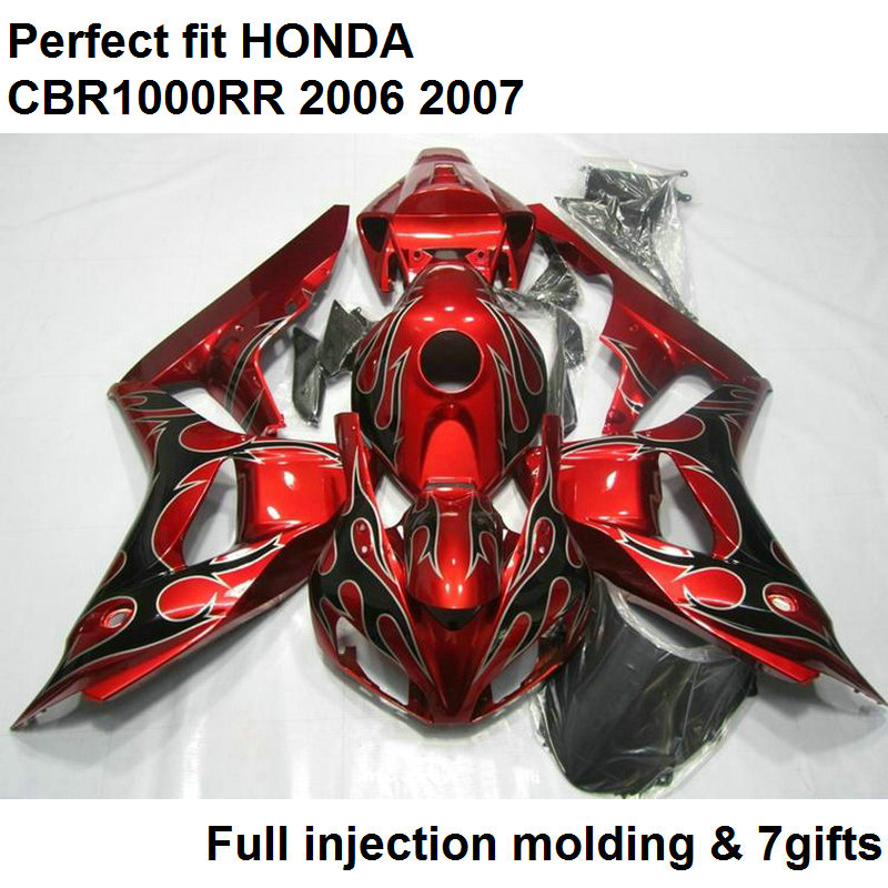Injection molded fairing for Honda CBR1000RR 06 07 wine red bodywork parts fairings kit CBR 1000RR 2006 2007 NV29 injection molding fairing kit for kawasaki zx14r 06 07 08 09 2006 2009 wine red black 100% abs zx14r fairings op01