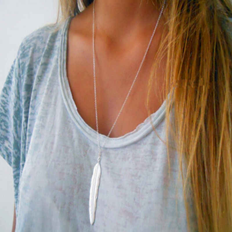 Boho Accessories Silver Long Chain Necklace Collar Retro Feather Pendant Necklace Women Vintage Minimalist Jewelry Drop Shipping