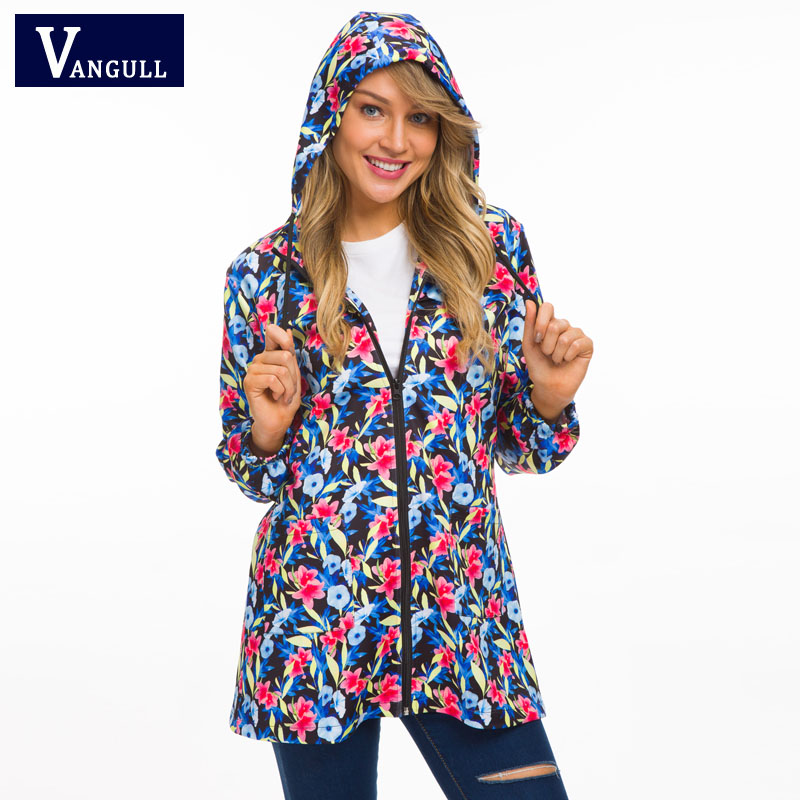 Fashion Casual Color  Women's Clothing 2018 Autumn hooded Floral ladies thin Coats zipper loose women Print Basic Jackets
