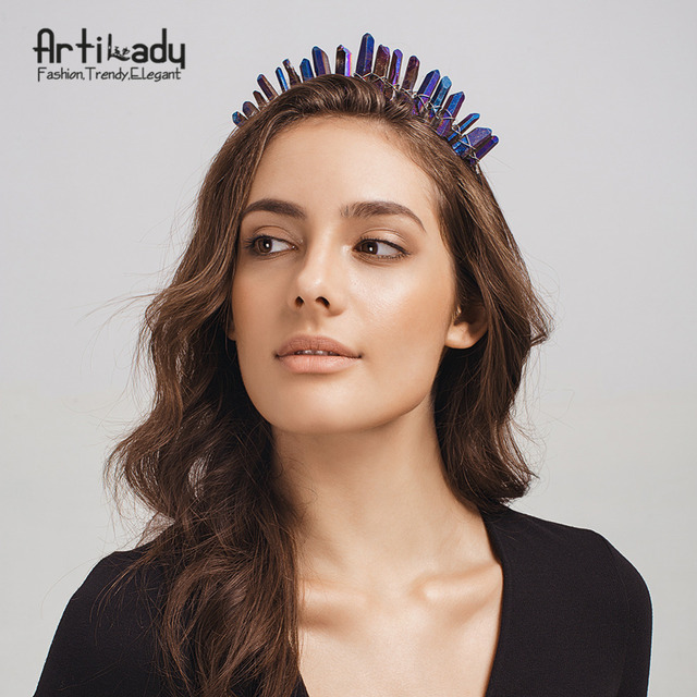 Artilady Raw Crystal Hairbands Handmade Crown Tiara Headbands Angel Crown Hair Jewelry For Women dropshipping
