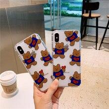 Bears Korean case phone 6 for iPhone 8 6s 7 plus xs max Korea cute cartoon animal puppy bear gift cover xr x