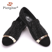 Piergitar Handmade Black Diamonds Men's Suede Loafer accessorized Gold Strap with Satin and Leather Insole for Banquet and Prom