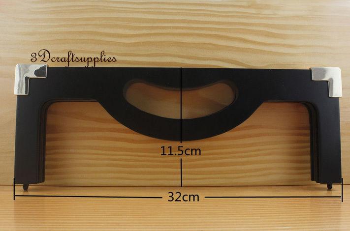 Black wood purse frame 12 1/2 inch x 4 1/2 inch (purse making supplies) M119