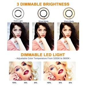 Image 4 - Lampa wideo 26 CM lampa pierścieniowa lampa pierścieniowa led na Youtube sesja zdjęciowa statyw do aparatu fotograficznego Studio z uchwytem na telefon