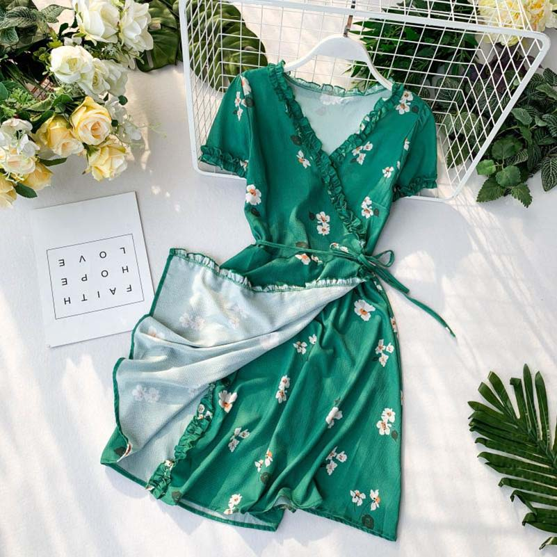 Girls Vintage Floral Print Ruffles Women Wrap Dress Lace Up One-piece V-neck Short Sleeve Loose Summer Female Wrap Dress