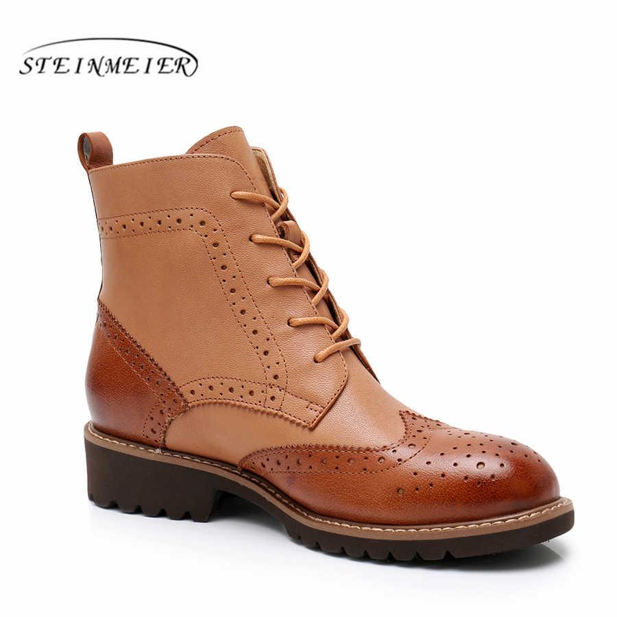 100% echtem schaffell Leder Ankle chelsea Stiefel yinzo dame schuhe Handgemachte oxford schuhe für frauen winter stiefel rot braun