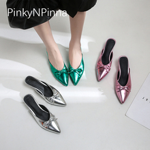 2019 new designer slippers female patent leather butterfly knot shallow high  heels slip on pointed toe 16ec6f047d4c