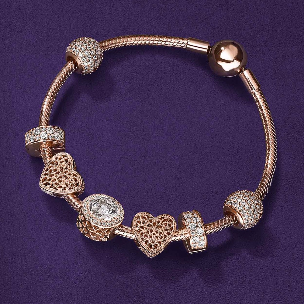 EDELL 925 Fashion Rose Gold Crystal Key Charm Bracelet For Women Gold European Diy Beads Bracelets & Bangles heart-shaped black heart shaped rose pattern retro bracelet