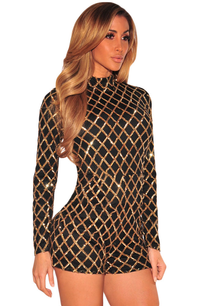 5ddac650c2f Sparkly Luxury Black Diamond Sequins Long Sleeves Romper 2017 Long Sleeves  Club Party Overalls Romper Short Mono Mujer-in Rompers from Women s  Clothing on ...